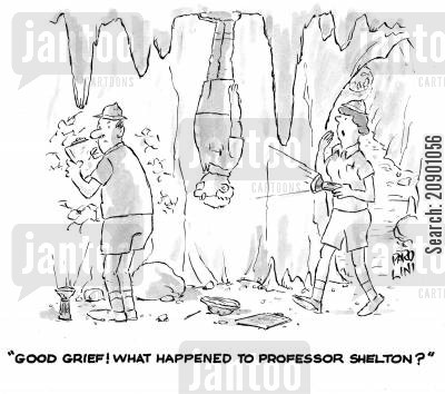 expeditions cartoon humor: 'Good grief! What happened to Professor Shelton?'
