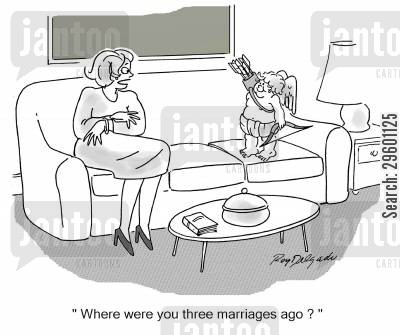 remarried cartoon humor: 'Where were you three marriages ago?'
