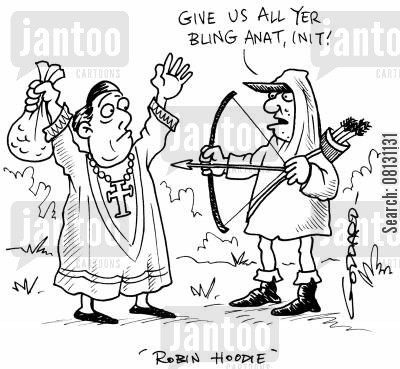 crimimal cartoon humor: Give us all yer bling anat, init. - Robin Hoodie