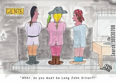 mens room cartoon humor: Three pirates at the urinal - one looks down and says 'Ahhr, so you must be Long John Silver?!'