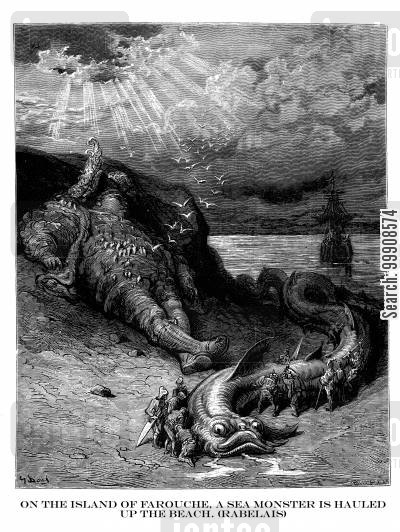 gargantua and pantagruel cartoon humor: On The Island of Farouche, A Sea Monster is Hauled Up the Beach (Rabelias).