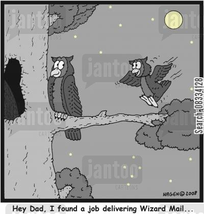 sorcerers cartoon humor: 'Hey Dad, I found a job delivering Wizard Mail...'