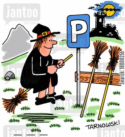 coven cartoon humor: Parking spaces for broomsticks.