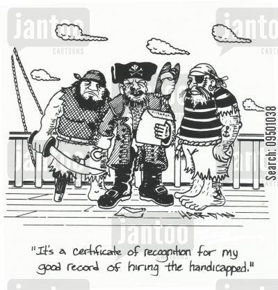 crossbones cartoon humor: 'It's a certificate of recognition for my good record of hiring the handicapped.'