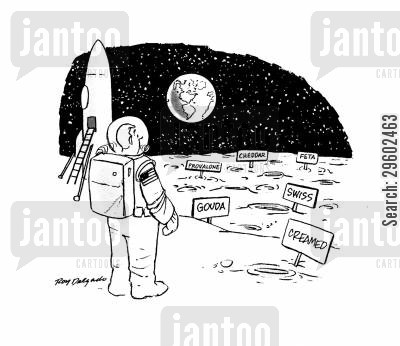 space ship cartoon humor: The moon is made of cheese.