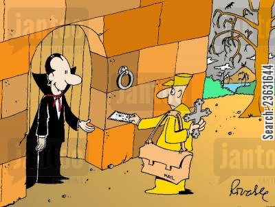 parcel cartoon humor: Dracula gets his mail.