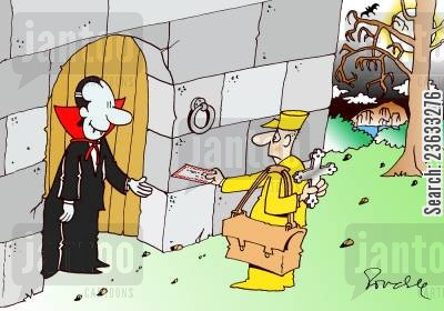 posties cartoon humor: Vampire mailman.