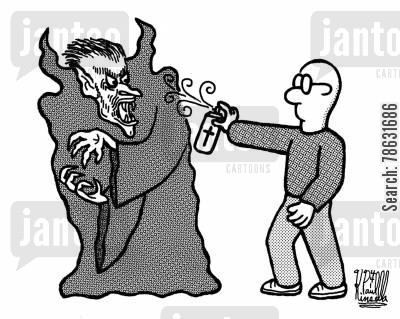 sprays cartoon humor: Vampire shunning crucifix-in-a-can.