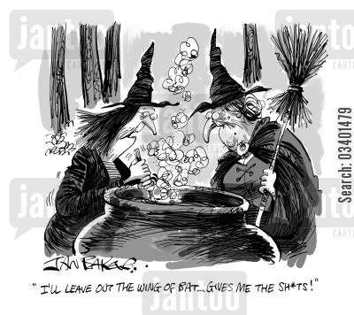 bat wing cartoon humor: 'I'll leave out the wing of bat . . . gives me the S**ts!'