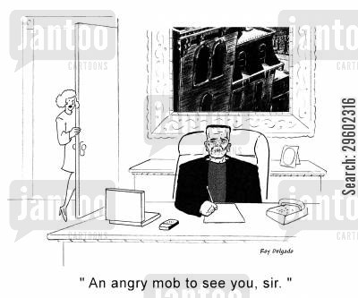 doctor frankenstein cartoon humor: 'An angry mob to see you, sir.'