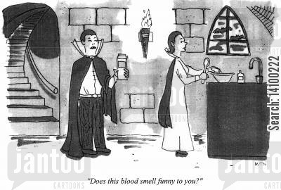 bram stoker cartoon humor: Does this blood smell funny to you?