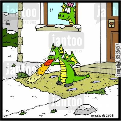 driveways cartoon humor: Young dragon clearing the footpath.