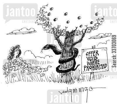 apple tree cartoon humor: Offer Void Where Prohibited.