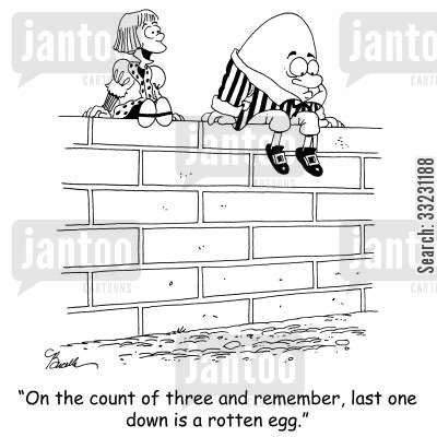 rotten egg cartoon humor: 'On the count of three and remember, last one down is a rotten egg.'