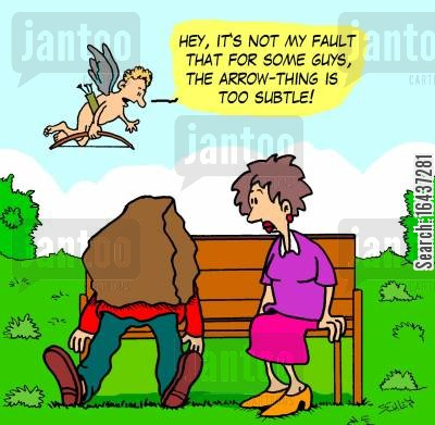 greek god cartoon humor: 'Hey, it's not my fault that for some guys, the arrow-thing is too subtle!'