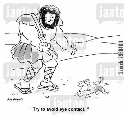 eye contact cartoon humor: 'Try to avoid eye contact.'