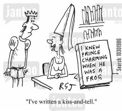 frog princes cartoon humor: 'I've written a kiss-and-tell.'