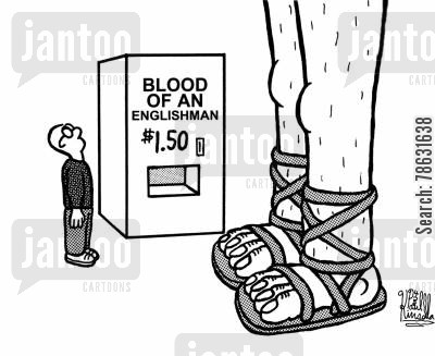 panto cartoon humor: Blood of an Englishman - $1.50 (jack and the bean stalk)