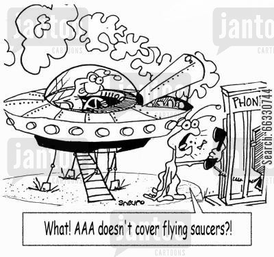 alien invasions cartoon humor: What? AAA doesn't cover flying saucers?!