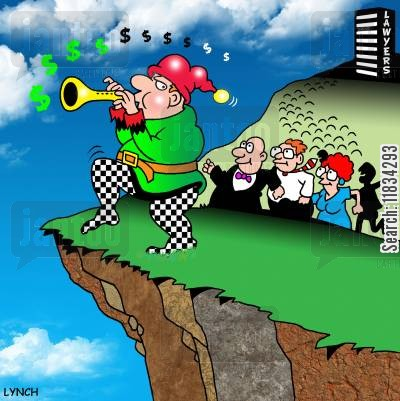 cliff edge cartoon humor: The Tune of the Dollar