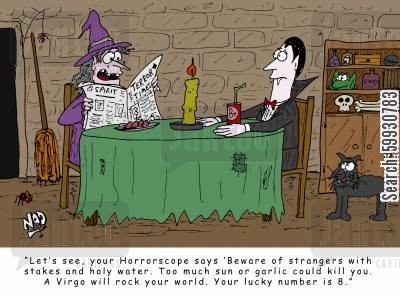 seer cartoon humor: A witch reads Dracula's Horrorscope from the paper 'Beware of strangers with stakes and holy water. Too much sun or garlic could kill you. A virgo will rock your world. Your lucky number is 8.'
