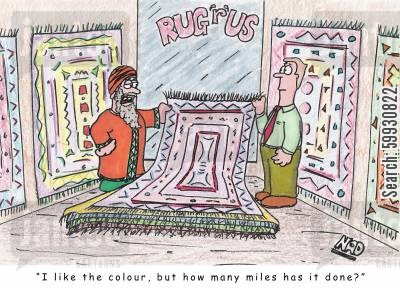 arabian nights cartoon humor: A middle eastern gentleman at a rug store - 'I like the colour, but how many miles has it done?'