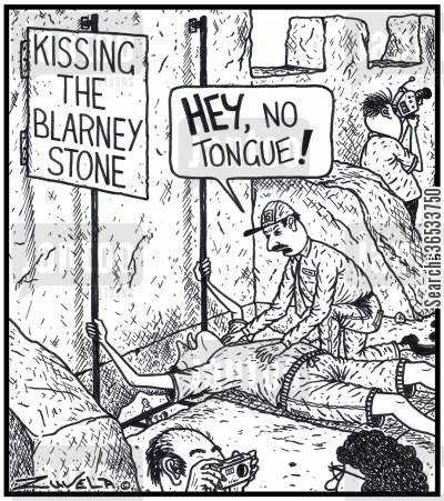 chattering cartoon humor:  'HEY,no Tongue!'