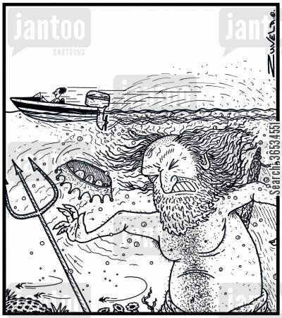 classicists cartoon humor: King Neptune getting an unwanted haircut from a Speedboat propeller