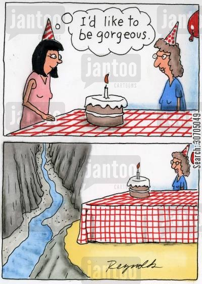 birthday wish cartoon humor: 'I'd like to be gorgeous.'