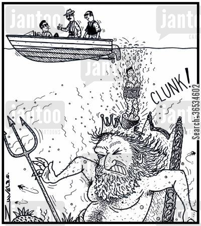 organised crime cartoon humor: King Neptune getting smashed on the head by a Mafia victim with concrete shoes.