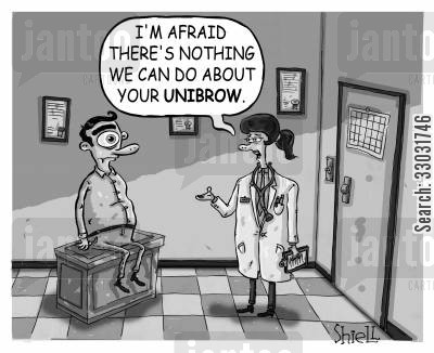 plucking cartoon humor: 'I'm afraid there is nothing we can do about your unibrow.'