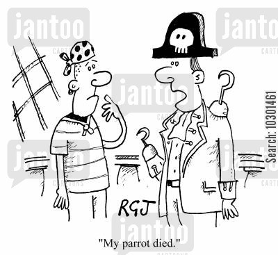 smugglers cartoon humor: My parrot died.