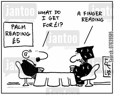 readings cartoon humor: 'What do I get for £1?'