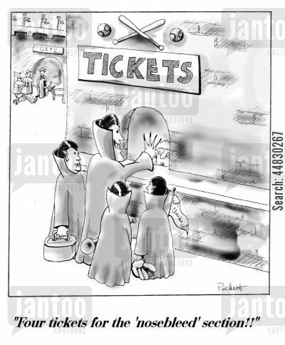 stadiums cartoon humor: 'Four tickets for the 'nosebleed' section!'