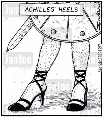 drag cartoon humor: Mythological Greek hero' Achilles' showing off his set of high-heeled shoes