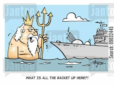 disturbance cartoon humor: 'What is all the racket up here?!'
