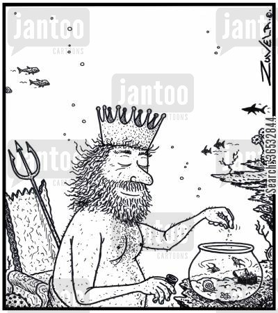 neptune cartoon humor: King Neptune feeding his two pet fish in a glass bowl.