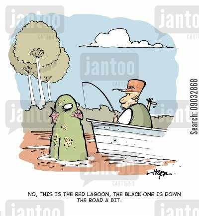 black lagoon cartoon humor: No, this is the red lagoon, the black one is down the road a bit.