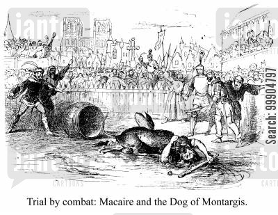 cudgels cartoon humor: Trial by combat: Macaire and the Dog of Montargis.
