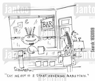 cocktail bar cartoon humor: 'Cut me off if I start ordering Marstinis.'