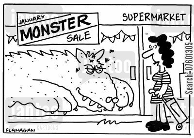 january sales cartoon humor: Monster Sale.