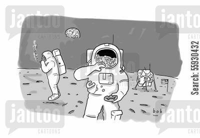 moon landings cartoon humor: Smokers smoking on the moon, Astronauts smoking on the moon