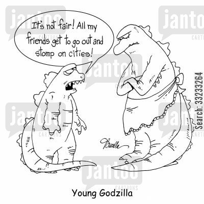 mom cartoon humor: Young Godzilla.