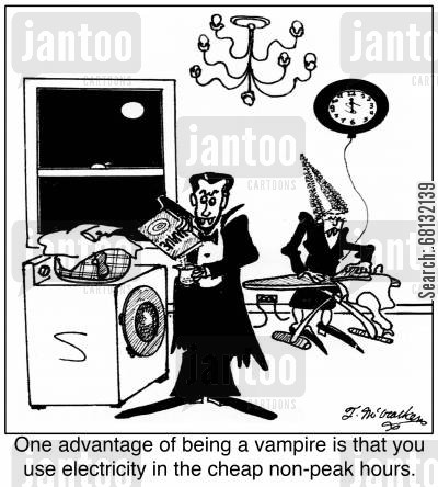 off peak cartoon humor: One advantage of being a vampire is that you use electricity in the cheap non-peak hours.