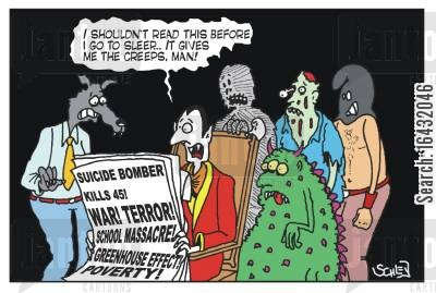 sleepless nights cartoon humor: 'I shouldn't read this before I go to sleep... it gives me the creeps, man!'