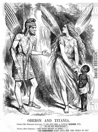 quarrel cartoon humor: Oberon and Titania as Abraham Lincoln and Miss Virginia