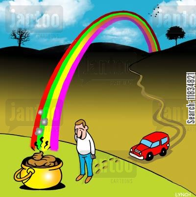 poops cartoon humor: Pot of poo at the end of the rainbow.