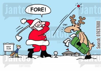 golfing accidents cartoon humor: Father Christmas Playing Golf.