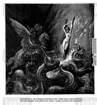 furioso cartoon humor: Angelica is Threatened by the Sea Monster, Ruggiero Fights it Off (Orlando Furioso).
