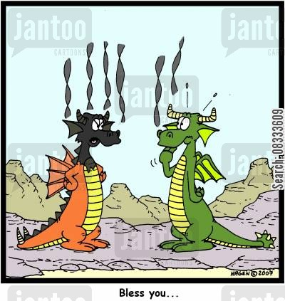 dragon cartoon humor: 'Bless you...'